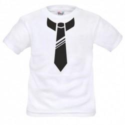 T shirt garçon blanc manche courte - cravate du 3/4 au 9/11 ans enfant cadeau neuf