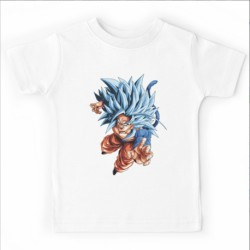 T shirt garçon blanc manche courte - Goku SS4G - Dragon Ball Z du 5/6 au 12/13 ans enfant cadeau neuf