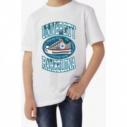 T shirt garçon blanc manche courte - University Barcelona du 3/4 au 9/11 ans enfant cadeau neuf