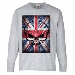 T shirt garçon gris manche longue - BRITISH FLAG du 3/4 au 9/11 ans enfant cadeau neuf