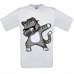 T shirt garçon blanc manche courte -Chat DAB du 3/4 au 9/11 ans enfant cadeau neuf