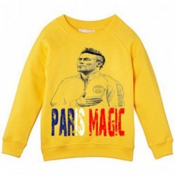 Sweat shirt garcon jaune PARIS MAGIC foot football du 6/8 au 12/14 ans vêtement enfant anniversaire neuf