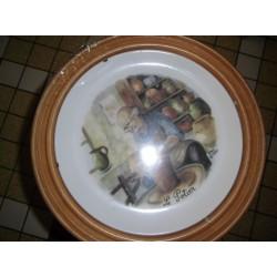 """Assiette Ceramique deco a suspendre """"le potier """" + Cadre Bois Offert Neuve"""