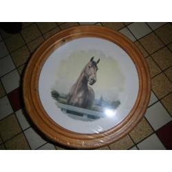 """Assiette Ceramique deco a suspendre """" animaux chevaux 01 """" + Cadre Bois Offert Neuve"""