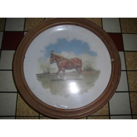 """Assiette porcelaine déco a suspendre """" animaux chevaux 03 """" + Cadre Bois Offert Neuve"""