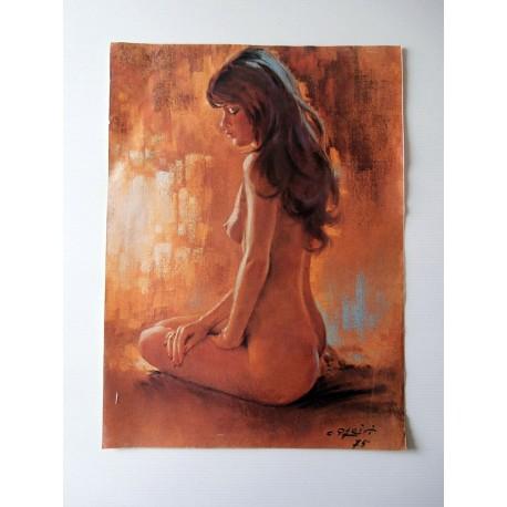 POSTER ART REPRODUCTION D'ORIGINE COLLECTION DE C. PARITI FEMME NUE 1975 30 X 40 CM OCCASION