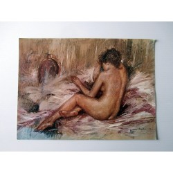 POSTER ART REPRODUCTION D'ORIGINE COLLECTION DE Giovanni NICOLUSSI FEMME NUE DE DOS 1970 30 X 40 CM OCCASION