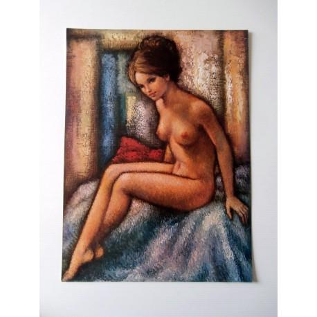 POSTER ART REPRODUCTION D'ORIGINE COLLECTION Pierre Manzone FEMME NUE 30 X 40 CM OCCASION
