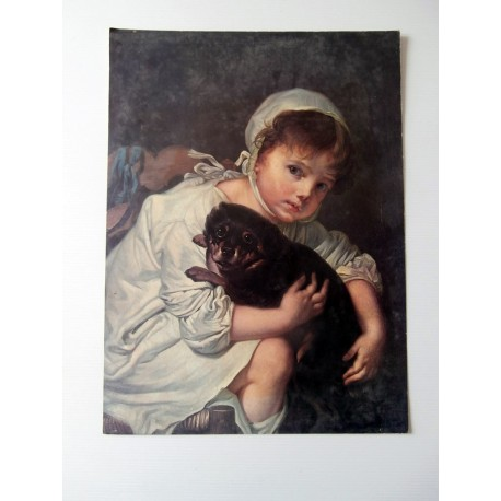 POSTER ART REPRODUCTION D'ORIGINE COLLECTION Jean-Baptiste Greuze l'enfant et son chien 30 X 40 CM OCCASION