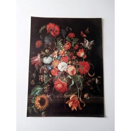 POSTER ART REPRODUCTION D'ORIGINE COLLECTION Abraham Mignon la vie floral 30 x 40 cm OCCASION