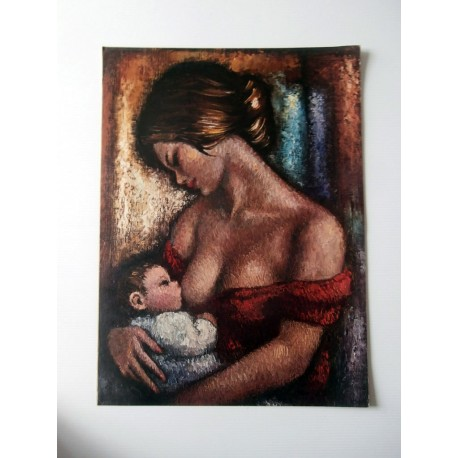 POSTER ART REPRODUCTION D'ORIGINE COLLECTION FEMME ET ENFANT DONNANT LE SEIN 30 X 40 CM OCCASION