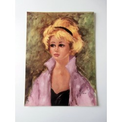 POSTER ART REPRODUCTION D'ORIGINE COLLECTION FEMME PORTRAIT E. FABIAN 30 X 40 CM OCCASION