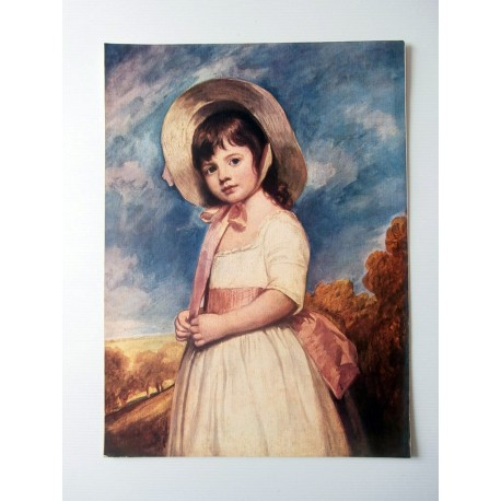 POSTER ART REPRODUCTION D'ORIGINE COLLECTION Mlle Willoughby par George Romney 30 X 40 CM OCCASION