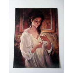 POSTER ART REPRODUCTION D'ORIGINE COLLECTION FEMME EN CHEMISE A IDENTIFIE 30 X 40 CM OCCASION