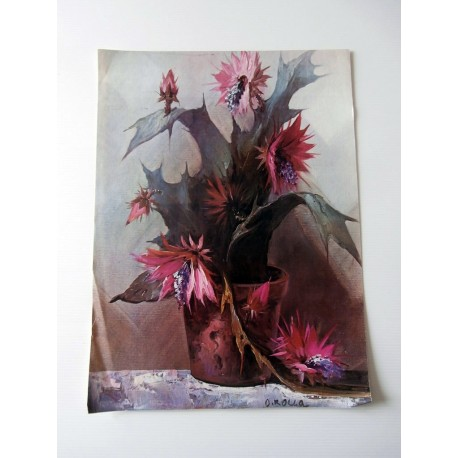 POSTER ART REPRODUCTION D'ORIGINE COLLECTION POT FLEURS O. ROLLA 30 X 40 CM OCCASION