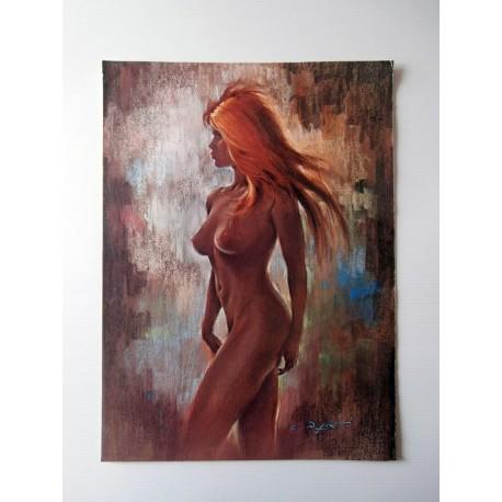 POSTER ART REPRODUCTION D'ORIGINE COLLECTION DE C. PARITI FEMME NUE BLONDE 30 X 40 CM OCCASION