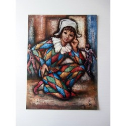 ART REPRODUCTION COLLECTION HARLEQUIN SIGNE A IDENTIFIE 30 X 40 CM