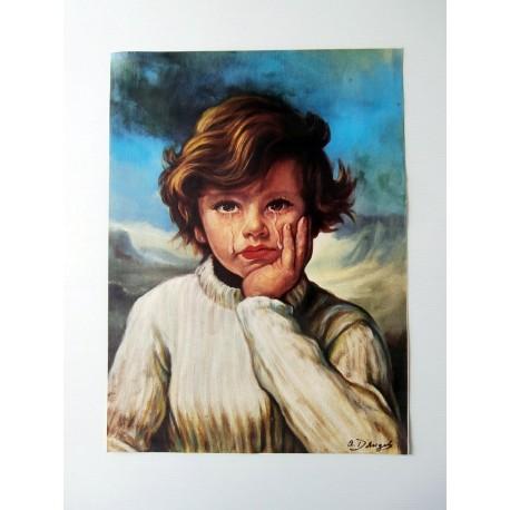 POSTER ART REPRODUCTION D'ORIGINE COLLECTION crying boy painting L'ENFANT QUI PLEURE 30 X 40 CM OCCASION