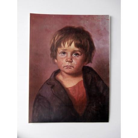 POSTER ART REPRODUCTION D'ORIGINE COLLECTION EDDY L' ENFANT QUI PLEURE 30 X 40 CM OCCASION
