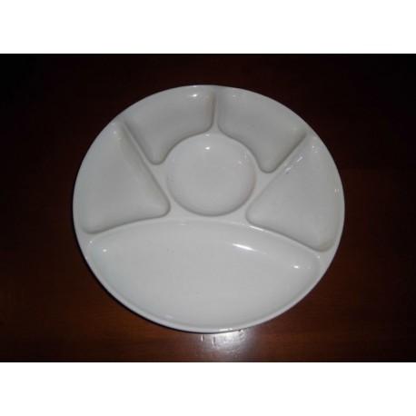 assiette a fondue blanche ceramique gien tbe