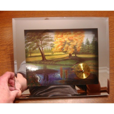 horloge cadre miroir relief deco paysage quartz tbe a suspendre