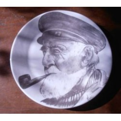 ancienne assiette deco marin porcelaine a poser tbe