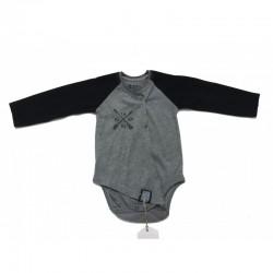 Body bébé manches longues swagg victory coupe déstructuré gris du 3 au 24 mois vêtement cadeau neuf