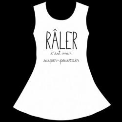 Robe Fille sans manches Blanche - Râler c'est mon super pouvoir du 4 au 10 ans vêtement enfant neuf