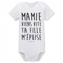 BODY BÉBÉ MIXTE MANCHES COURTES MAMIE VIENS VITE .... du 0/3 au 18/23 mois vêtement cadeau neuf