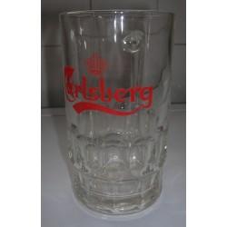 """lot de 2 verres chopes """"carlsberg"""" hauteur 13 cm avec anse tbe"""