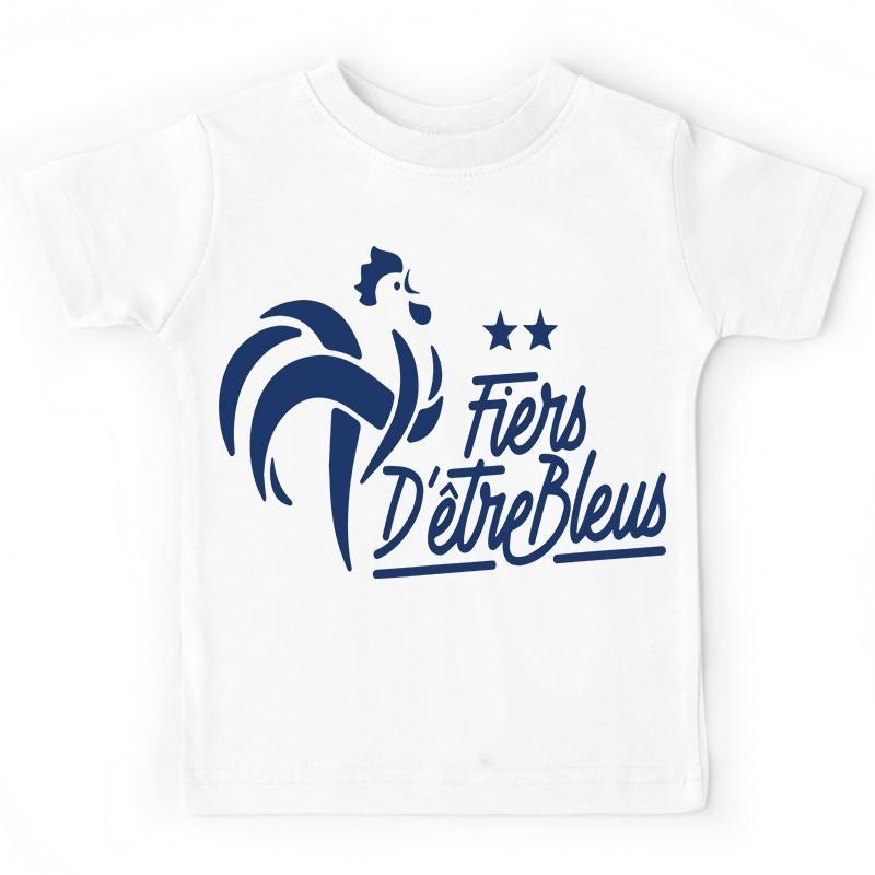 814bf6331ee99 T-shirt football France FFF enfant - Fier d'être bleus- 2 étoiles. Loading  zoom