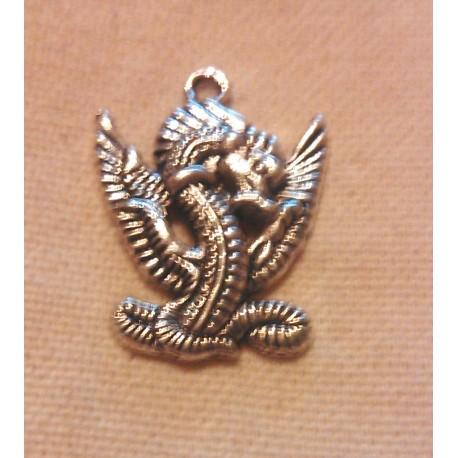 Bijou - Pendentif forme de dragon en argent tibétain