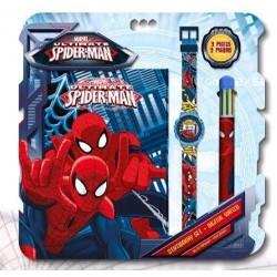 Set Spiderman Marvel Bloc Note + montre + stylo 6 couleurs idée cadeau anniversaire noel neuf