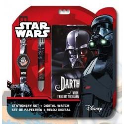 Set Star Wars Disney Bloc Note + montre + stylo 6 couleurs idée cadeau anniversaire noel neuf