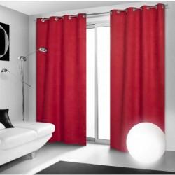 Rideau Occultant Rouge à Oeillets 140 x 260 cm déco maison neuf