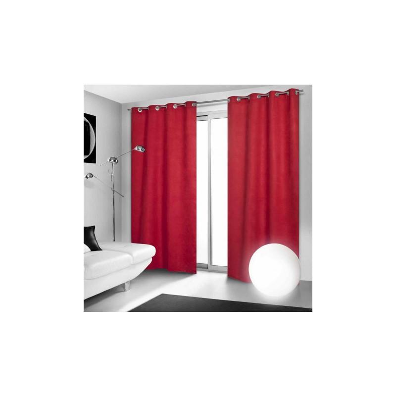 Rideau Occultant Rouge à Oeillets 140 x 260 cm déco maison neuf ...