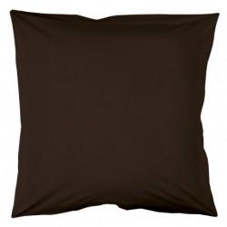 Taie d'oreiller 75x75 marron Chocolat unie 100% coton chambre lit neuf