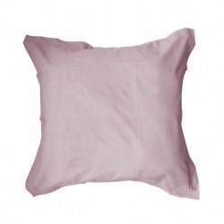 Taie d'oreiller 75x75 rose Poudre de Lilas unie 100% coton chambre lit neuf