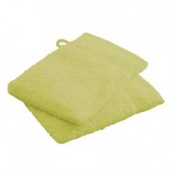 Lot de 2 Gants de toilettes Vert Anis en 100 % coton unie linge de toilette salle de bain neuf