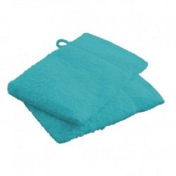 Lot de 2 Gants de toilettes Bleu Turquoise en 100 % coton unie linge de toilette salle de bain neuf