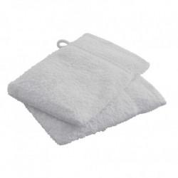 Lot de 2 Gants de toilettes Gris Clair en 100 % coton unie linge de toilette salle de bain neuf