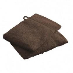 Lot de 2 Gants de toilettes marron Chocolat en 100 % coton unie linge de toilette salle de bain neuf