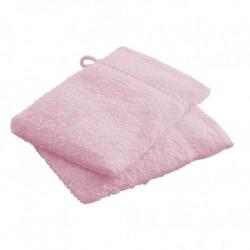 Lot de 2 Gants de toilettes rose clair en 100 % coton unie linge de toilette salle de bain neuf