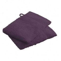Lot de 2 Gants de toilettes Violet en 100 % coton unie linge de toilette salle de bain neuf