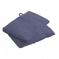 Lot de 2 Gants de toilettes Bleu marine en 100 % coton unie linge de toilette salle de bain neuf