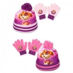 Set ensemble 2 pièces bonnet et gants Pat Patrouille bonnet Paw Patrol Skye enfant fille hiver neuf