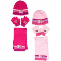 Set ensemble 3 pièces Pat Patrouille Paw Patrol Skye bonnet + gants + écharpe enfant fille hiver neuf