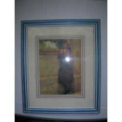 cadre contour bois bleu 34x28 cm representant une petite fille et son chien