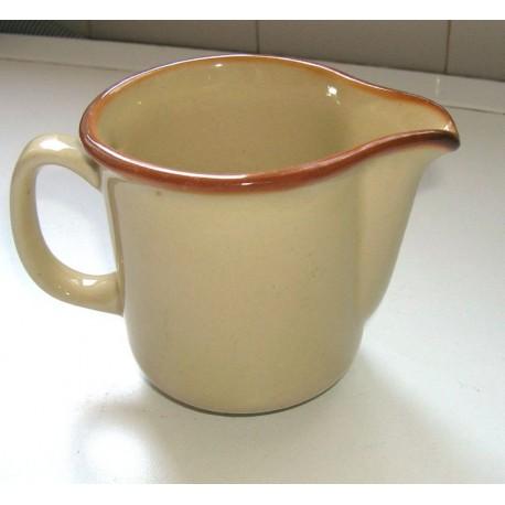 ancien pot a lait ceramique anglaise beige contour marron