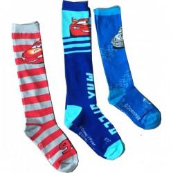 Lot de 3 Paires de chaussettes longues garcon Cars Flash Mc Queen 23-26, 27-30, 31-34 licence officielle neuve
